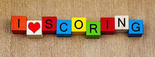 I Love Scoring, fun sign for sports, goals, winning and success.