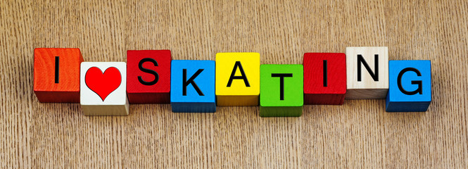 Skating, sign series for sports, ice and roller skating and skat