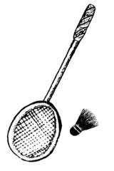 doodle Shuttle Cock and racket, isolated on white
