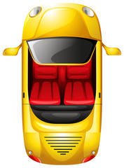 A topview of a yellow car
