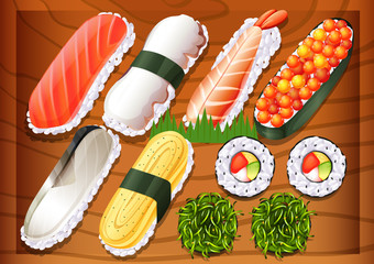 Different flavors of sushi
