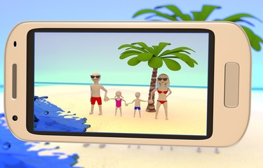 family taking a picture on the beach