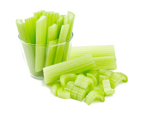 fresh celery isolated on white background