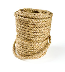 roll of jute rope isolated on white background
