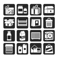 Silhouette different kind of package icons