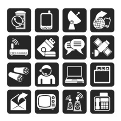Silhouette Communication, connection  and technology icons