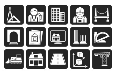 Silhouette architecture and construction icons