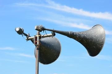 Two large megaphones