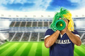 Brazilian fan celebrating a goal