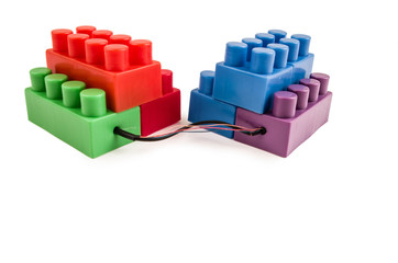 building blocks connected with wires
