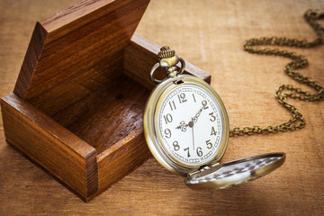 Pocket watch and wooden box