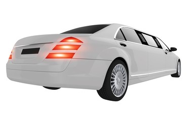 Elegant White Wedding Limo