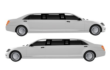 White Limousines Side View