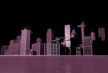 Purple Skyline Illustration