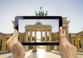 photographing with my tablet the Brandenburg Gate