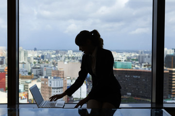 Silhouette of businesswoman work