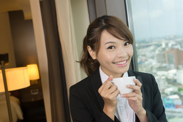 businesswoman in hotel