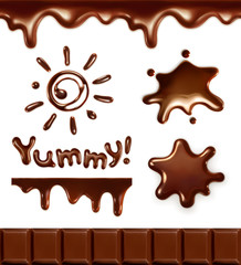 Set of chocolate drops, vector illustration
