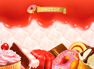 Sweet background, vector illustration