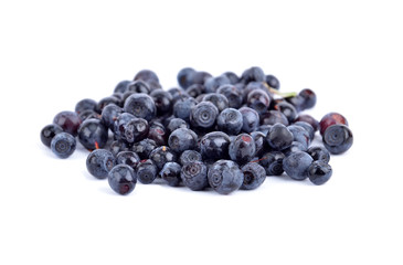 Fistful of ripe blueberry on white background