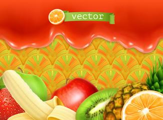Fruity sweet background, vector illustration