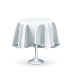 Round table with white tablecloth, vector illustration