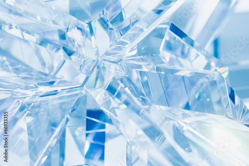Leinwandbild Motiv abstract blue background of crystal refractions