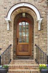 Wooden front door of family home