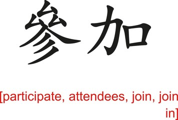 Chinese Sign for participate, attendees, join, join in