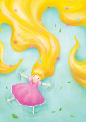 rapunzel relaxing lay down on grass illustration