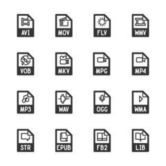 File type icons: Video, sound, and books – Bazza series