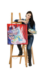 Artist leaning on an easel with abstract painting Metamorphosis