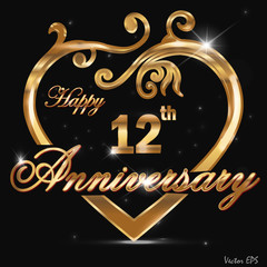 12  year anniversary golden heart card