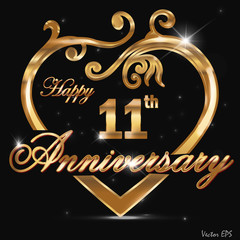 11 year anniversary golden heart card