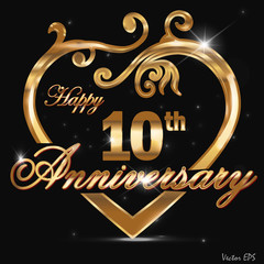 10 year anniversary golden heart card