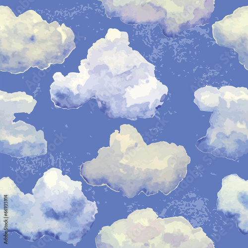 Tapeta Vector seamless pattern with watercolor blue clouds