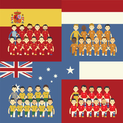 Football team and flag, Group B