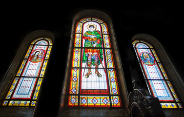 Stained glass  in Kharkov temple of Assumption.