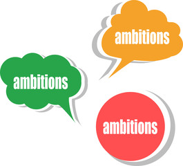 ambitions word on modern banner design template. set of stickers