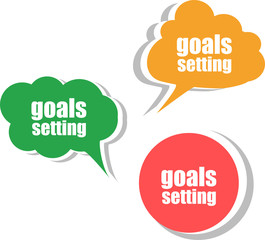 goals settings. Set of stickers, labels, tags. infographics