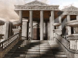 Starożytna grecka świątynia z kolumnami