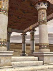 Starożytny egipski budynek ze zdobionymi kolumnami