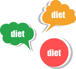 diet. Set of stickers, labels, tags. Template for infographics