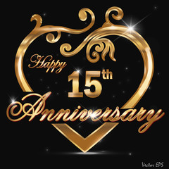 15 year anniversary golden heart card