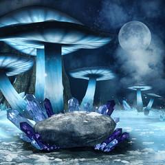 Zimowa sceneria z niebieskimi grzybami, skałą i kryształami