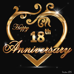 18 year anniversary golden heart card