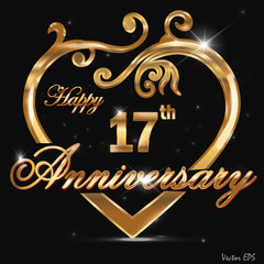 17 year anniversary golden heart card