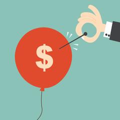 About to burst the bubble -  Financial Crisis Concept