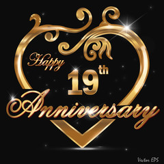 19 year anniversary golden heart card
