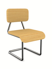 School chair on white background. Isolated 3D image